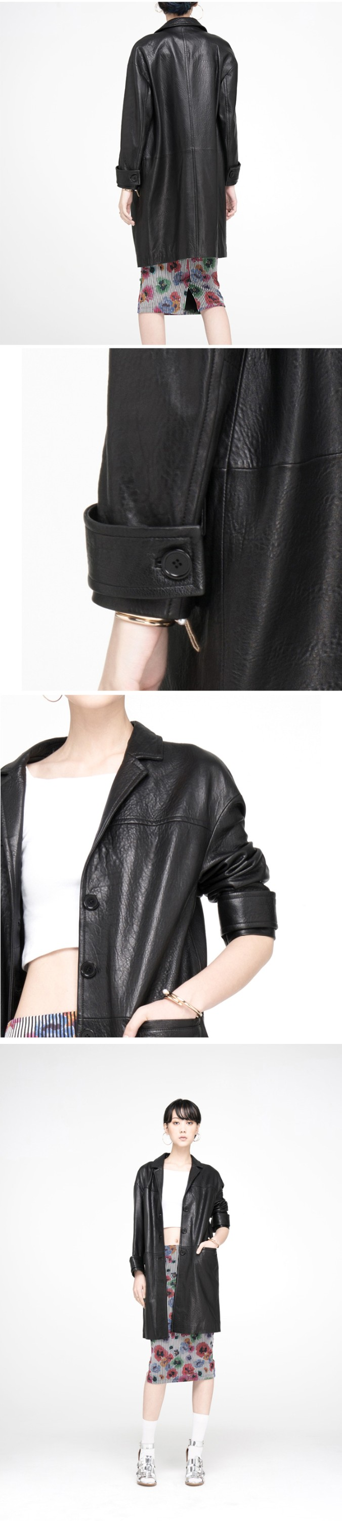 YEEL New Design europe luxurious grace notch collar long design women leather coat with buttons