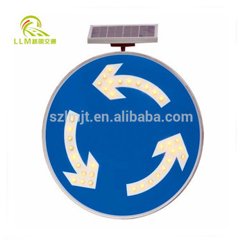 Solar square warning led road sign