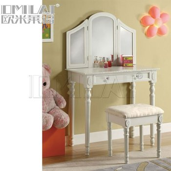 Cheval MDF wood framed mirrored dressing table designs white