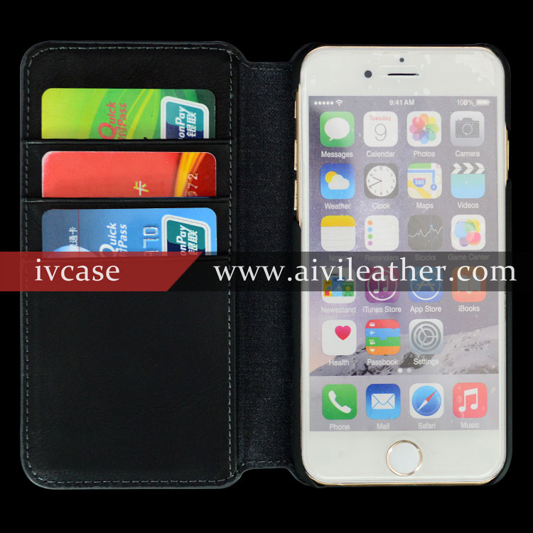 100% Handmade Genuine Leather Cases Cell Phone Case for Iphone 6s Fabric Case Wallet Black