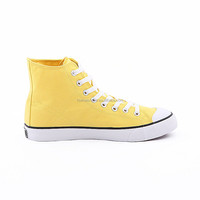 yellow high cut rubber soles flat vulcanized canvas shoes