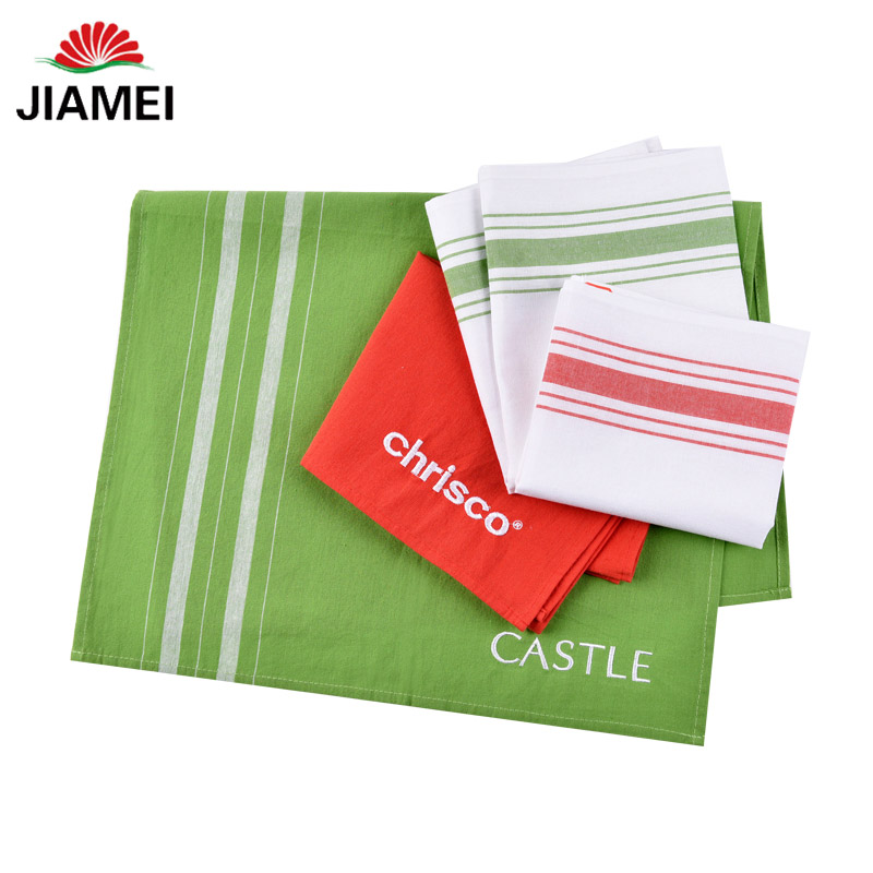 home textile white plain cheap cotton linen embroidered tea towel kitchen towel dish towel wholesale