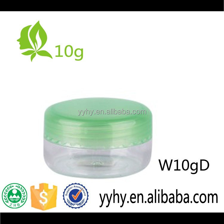 10g plastic PS cream jar with colorful PP cap