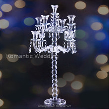 Elegant clear crystal candelabra 7 arms hanging beads for wedding centerpiece