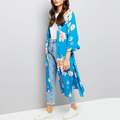 3/4 sleeves open front all over print floral kimono