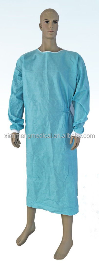 Custom cheap dark blue sterile disposable non-woven PP SMS hospital gowns for men