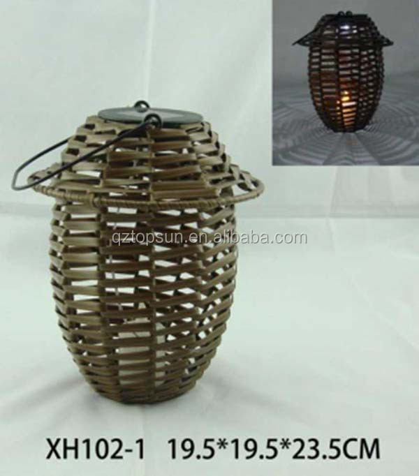 Bamboo candle lantern solar light for garden decoration