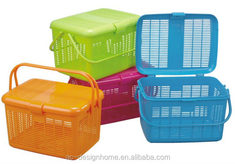 FUCHSIA, TURQUOISE, LIME GREEN, ORANGE 20L RECTANGULAR PP PLASTIC BASKET W/HANDLE & LID