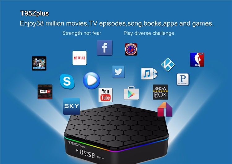 T95Z PLUS TV BOX Amlogic S912 Octa Core Android 7.1 Marshmallow 2GB DDR3 16GB EMMC Flash KODI Pre-installed 2.4G/5G