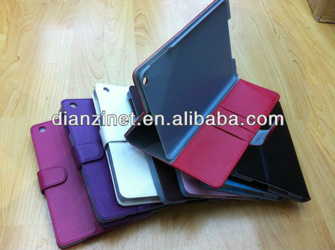 Stand leather case with card holder for ipad mini