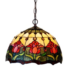 Tiffany red tulip pendant lamps handmade cut glass lampshade art hanging lamps