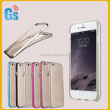 Watermark- proof Clear TPU + Metal Bumper Cover Back Case For Iphone 6 6S Plus