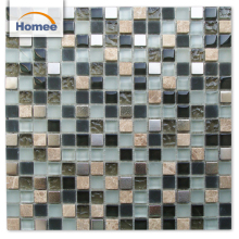 Light Emperador Marble Texture Glass Glass Metal Mix Mosaic