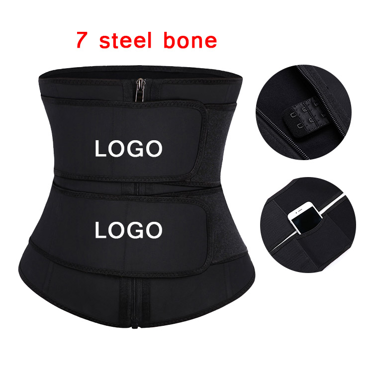 Custom Logo Plus Size Latex Waist Cincher Double Straps Hooks Sweat Shaper Corset Waist Trainer with Pocket