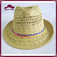 Crochet Straw Fedora Hat With ColorfuL Braid Attachment