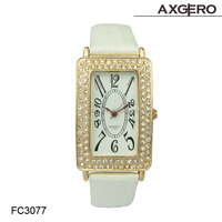 Vogue fashion design crystal watch promotion gift leather women watch