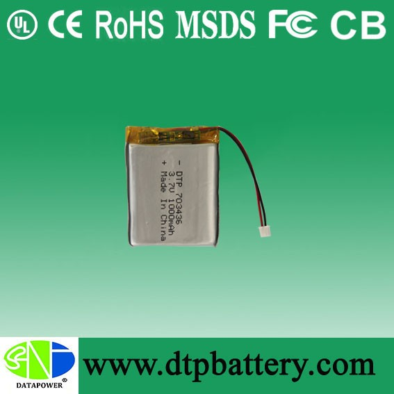 China manufacturer 1000mAh lipo battery 703436 for electronic prod