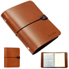 Brown leather ring binder travel journal elastic band closure diary notebook