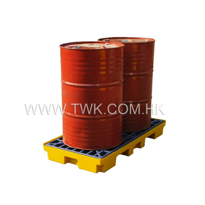 2 Drums Yellow Spill Deck Pallet for Chemical Storage