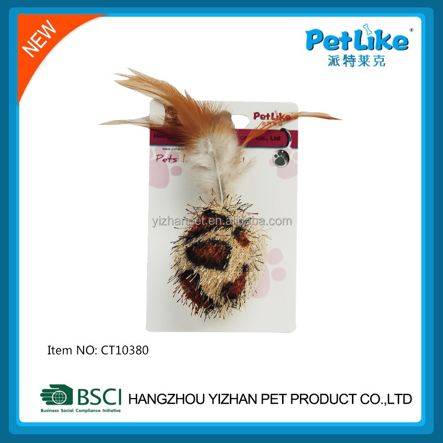 Private brand catnip ball with bird feather cat toy