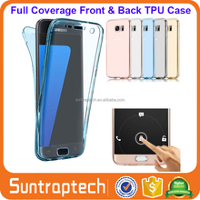 Full Coverage 360 degree Front Back Case TPU Gel Transparent Clear Cover for Samsung Galaxy S6 S7 S8 Plus Edge Note 7 5 4 S7EC20