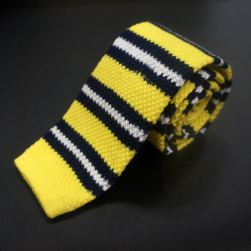Cotton knitted yellow tie from wholesale china factory