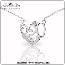 Women accessories latest design 520 heart shape 925 sterling silver charm necklace for gift