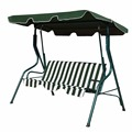 Garden Swing Chair 3 Seats Outdoor Swing with Strip Cushion Outdoor Green Stripe Swing Chair