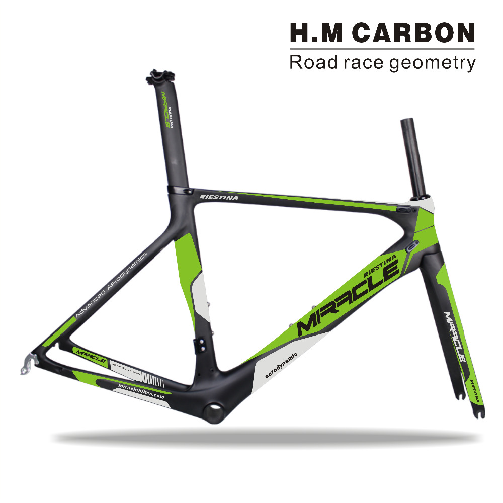 Miracle Bikes internal cable bicycle bike carbon frameset, BB86 road bike carbon frame road