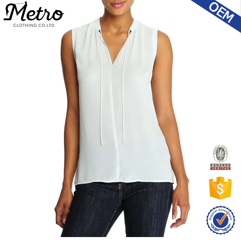 Fashion Manufacturer Ladies Plain V-neck Chiffon Sleeveless Blouse