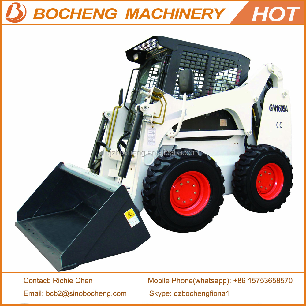 Cheap Price WECAN Brand 1605A Skid Steer Loader With Attachments For Sale