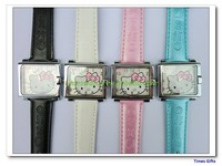 2015 new vogue Square small dial Hello Kitty leather wrist watch Girls Leather Watch children watch high quality