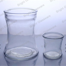 Unique funnel shaped glass containers,decorative clear glass candle jars