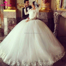 Arabic Tulle Ball Gown Wedding Dress Lace Applique Jewel Illusion Long Sleeve Puffy Gothic Princess Ivory Muslim Bridal Gown