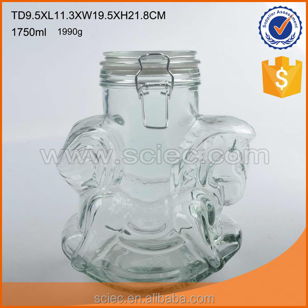 unique shaped clear cameo on glass nuts storage jar with glass lid and clip