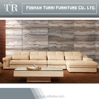 Luxury living room furniture geniune leather corner sofa K101