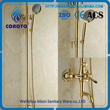 Luxury Style Bathroom Faucet Brass Gold Rain Shower Panel Faucet Set