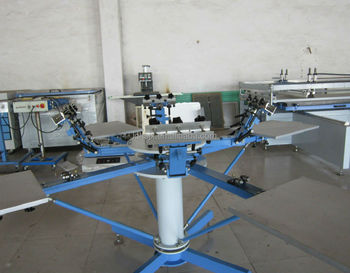 Cost-effective manual 4 head/4 station rotary screen printing machine with micro registration for t shirts HS-440E