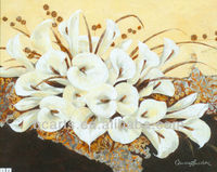 Pure hand draw high quality design simple modern white flower paintings