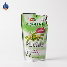 Custom stand up beverage bag plastic juice packet with straw inside