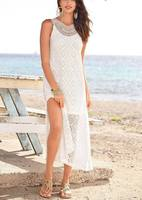 Sexy Summer Spaghetti Strap Women Clothing Casual Hollow Out Long Loose Ladies Beachwear White Elegant Girl Party Dress