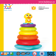 High quality cute plastic stacking rainbow duck toy for kids