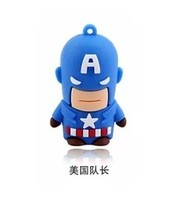 1pcs New cartoon Captain America usb 2.0 flash memory stick pen drive 2G 4G 8GB 16GB 32GB 64GB free shipping