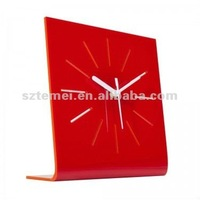 red acrylic desk clock or plexiglass table clock