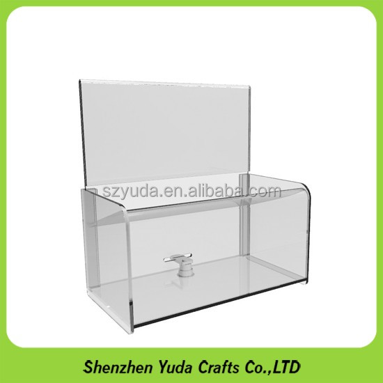 Floor standing acrylic large donation box crystal plastic donation box with sign holder