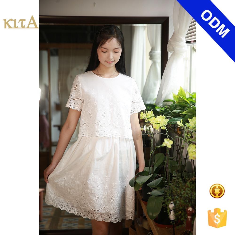 Women Short Sleeve White Cotton Embroidery Dress