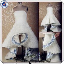 JJ3569 embroidery royal blue and white wedding dresses short in front and long in back