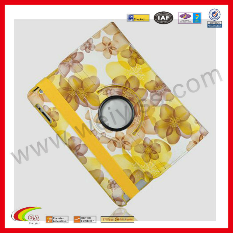 Stylish Yellow Lucky Flowers With 360 degrees Rotating Cover for iPad Swivel Stand