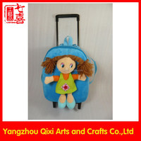 Kids school plush toy soft girl doll cute trolley bag for girls