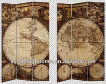 WORLD MAP 3 PANEL CANVAS/WOODEN FOLDING SCREEN